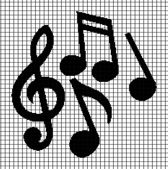 Free Crochet Patterns For Music Notes : Musical Notes - Blanket Crochet Graphghan Pattern (Chart ...