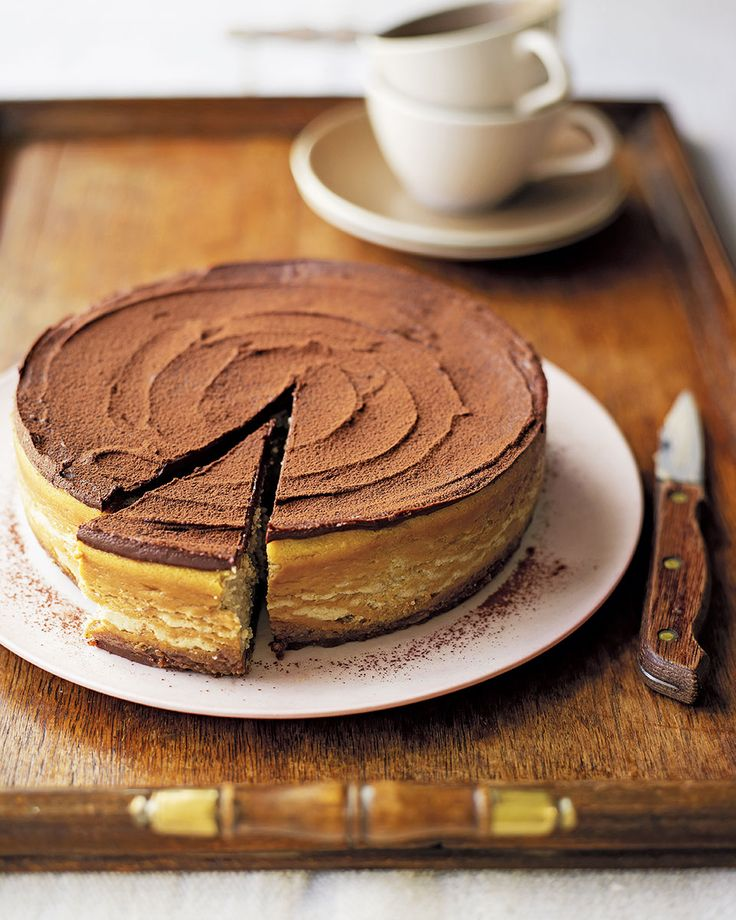 A chocolate cookie base, rich coffee cheesecake and a dark chocolate topping, all in one dessert? It could only be Eric Lanlard's decadent cheesecake recipe.
