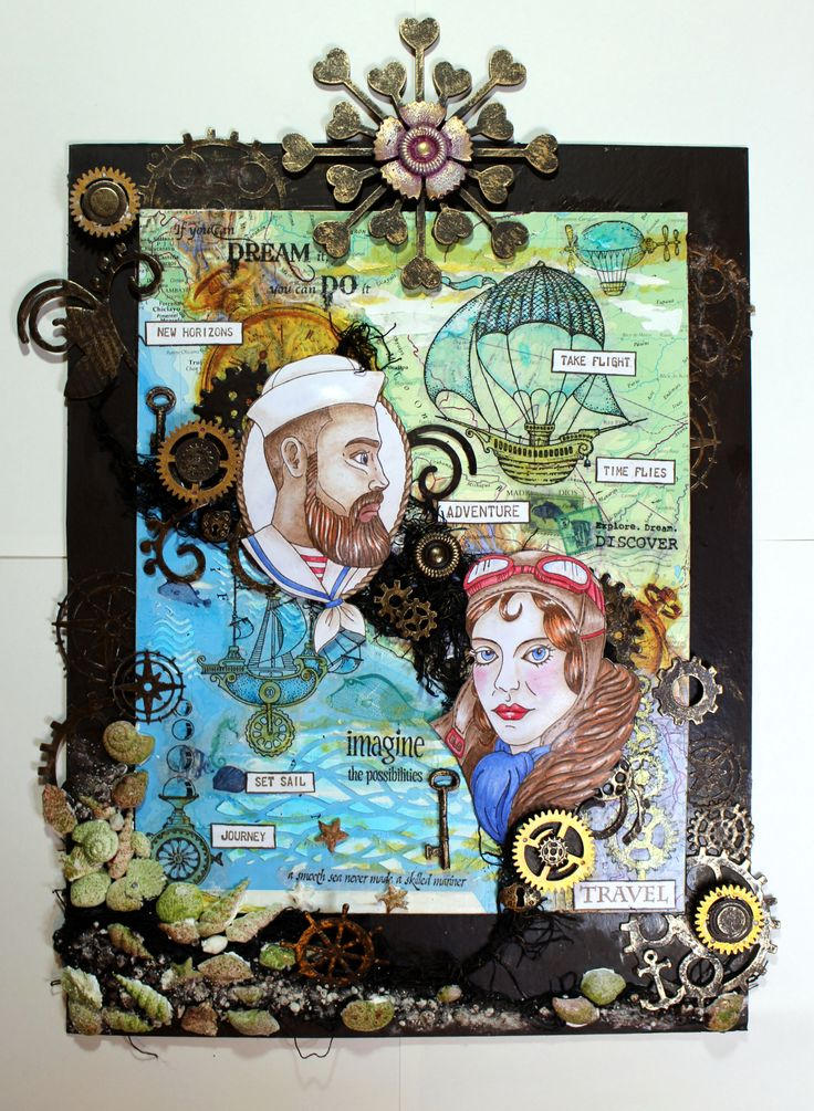 Steampunk Travellers canvas created with Powertex and stamps from Chocolate Baroque and Mark Gould. Anne Waller #chocolatebaroque #stamping #mixedmedia #Powertex #powertexuk
