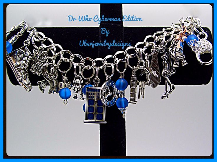 Dr Who Cyberman Edition Inspired  Fandom Charm Bracelet with Tardis by Uberjewelrydesigns on Etsy