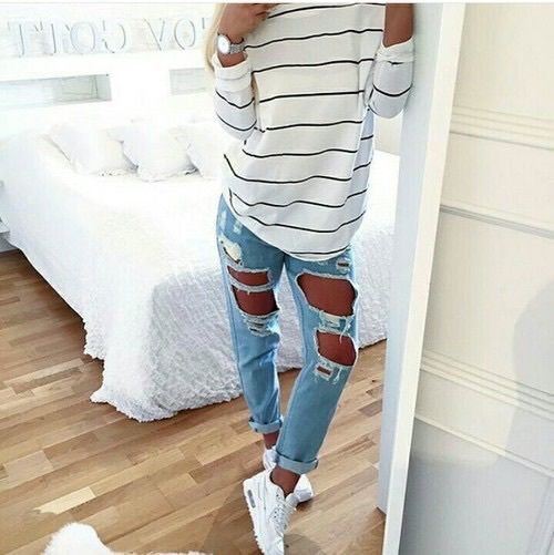 white striped tee + ripped jeans