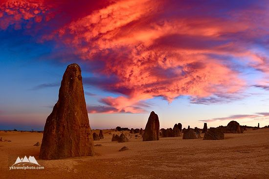 The Pinnacles Desert, Nambung National Park: known as Pinnacles, is located approximately 250 km North from Perth and 25 kilometres South from Cervantes.