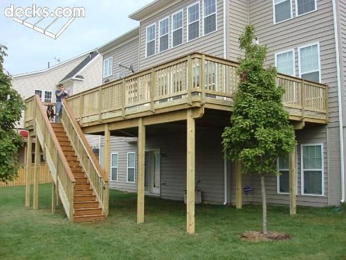 Raised Deck With Stairs In Front Backyard Plans