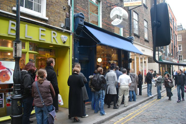 Queing up for lunch at Neal's Yard Dairy, London