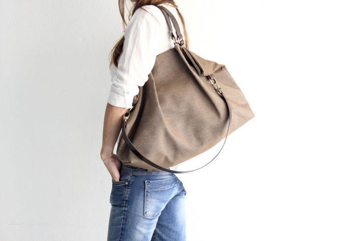 Borsa in tela e cuoio, tessuto idrorepellente e cuoio pregiato, color marrone - Susy shoulder bag di Genuinemyself su Etsy