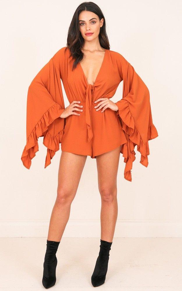 Seen Better Days playsuit in rust SHOWPO Fashion Online $65
