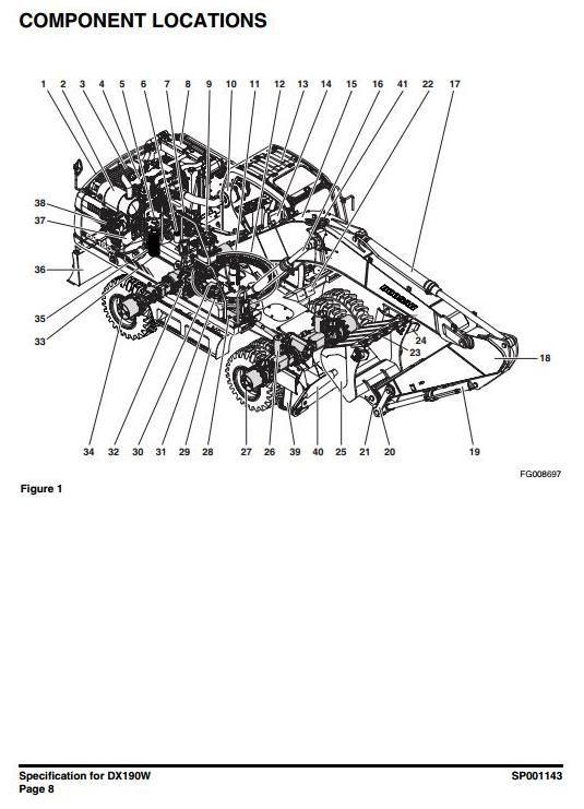 original illustrated factory workshop service manual for doosan wheeled excavator type dx190w