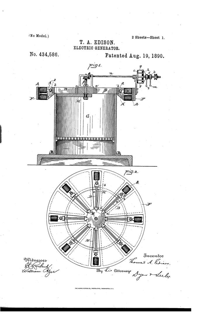 Electric Generator Edison Patents Pinterest