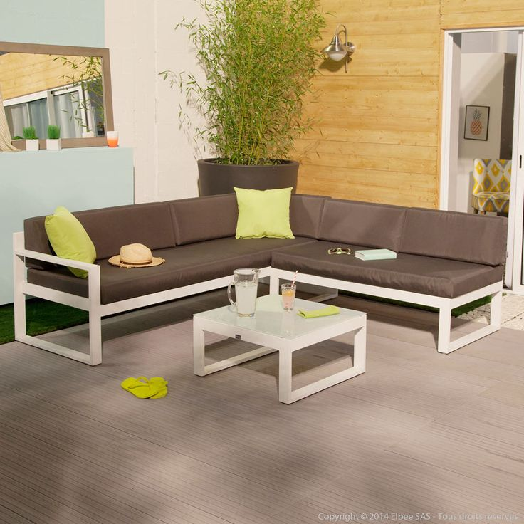 Salon de jardin bas moderne squareline 5 places canap d for Salon d angle moderne