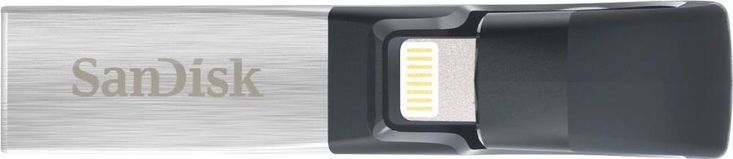 SanDisk - iXpand 256GB USB 3.0, Apple Lightning Flash Drive - Black/silver