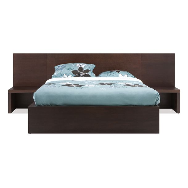 Eq3 Simple Bed With Extended Headboard Night Stands Metal Slats And Storage Drawer On