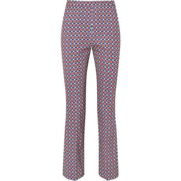 Prada Printed twill skinny pants found on Polyvore featuring pants, blue, prada, prada pants, white boho pants, skinny twill pants and straight leg trousers