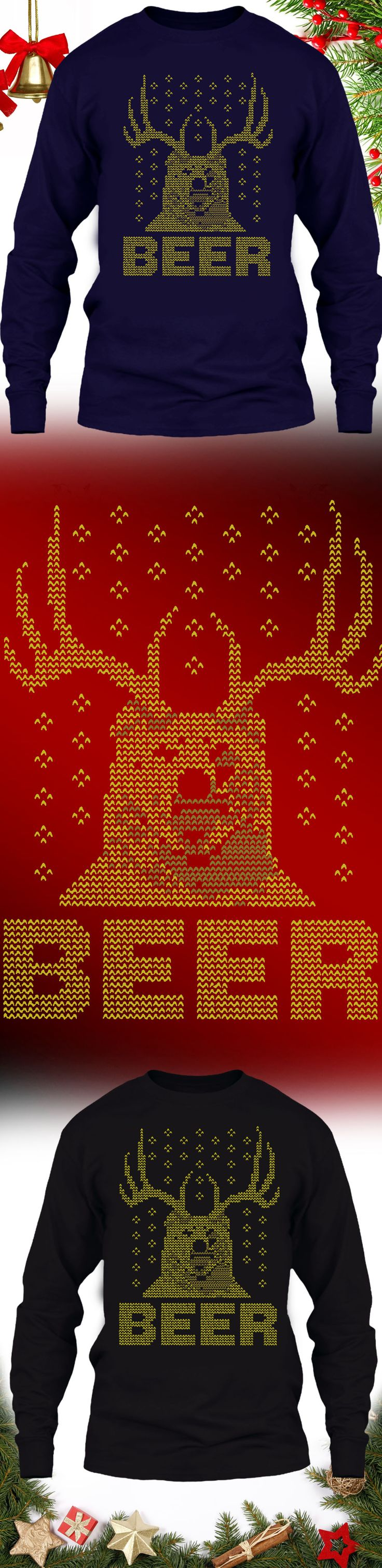 Hunting Christmas Sweater Beer Deer - Get this limited edition ugly Christmas Sweater just in time for the holidays! Only 2 days left for FREE SHIPPING, click to buy now!