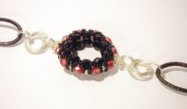 Raspberry and Black Bracelet Beaded Bracelet with Leather and Wire, Black and Pink Jewelry - pinned by pin4etsy.com