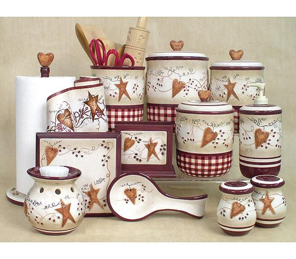 Kitchen Cannisters Accessories Hearts Stars Cannisters Country Star Decorcountry Charmcountry