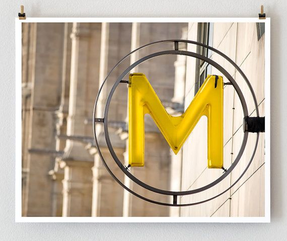 Metro Signs, French Art, Yellow Wall, Prints Shops, Paris Photography, Art Prints, Paris Metro, Paris Prints, Letters