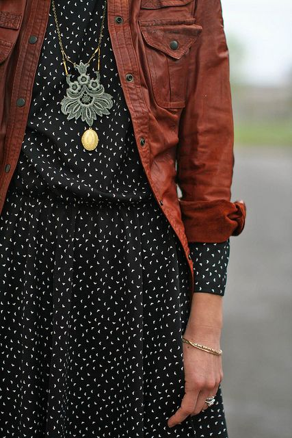 Classic polka dot dress, brown leather jacket and statement necklace