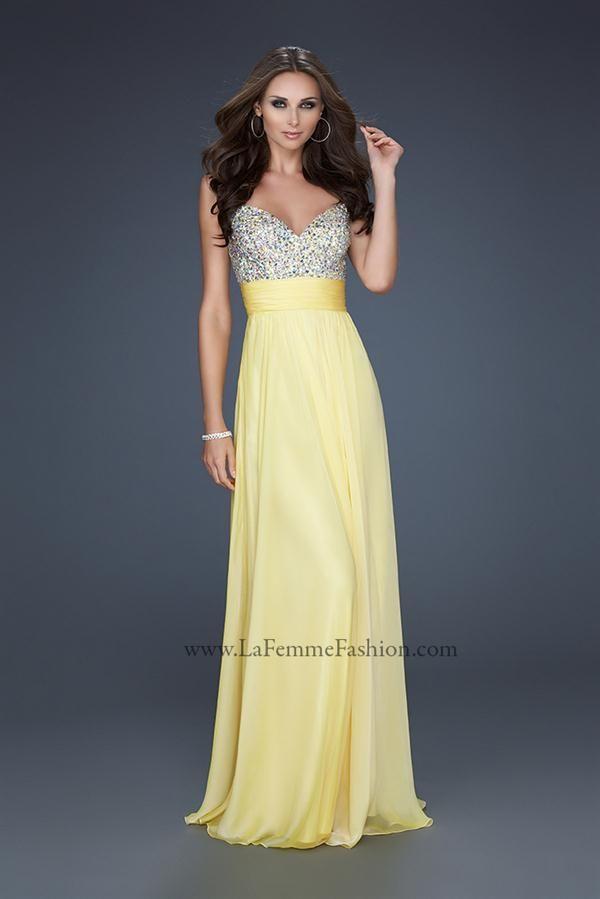 Vestidos de Fiesta de La Femme amarillo plata