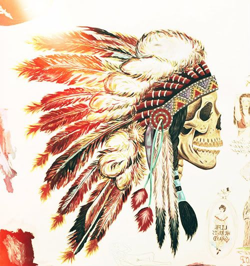 art-headdress-indian-native-american-painting-skull | Art ...