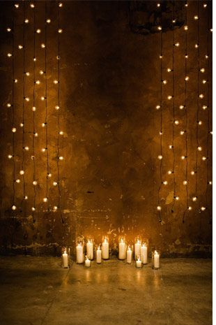Candle and Festoon edding Cermony Backdrop - Read more on One Fab Day: http://onefabday.com/indoor-ceremony-backdrops/