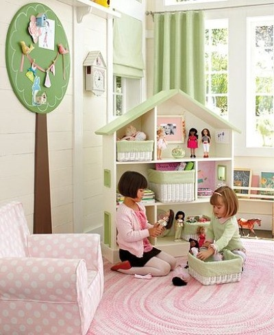 baskets on doll house shelves, take out when want to play doll house, put them back on shelf when finished