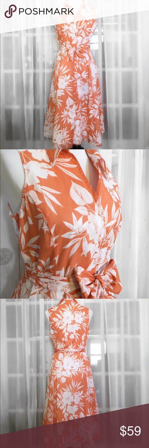 Jones New York Orange & White Sleeveless Sundress Stay cool, breezy and gorgeous with this 100% Cotton Dress by Jones New York Signature collection ❤️ Collared neckline, Sleeveless, full button down, beautiful floral design, belted and hem hits at ankles. Like New condition! Jones New York Dresses Maxi