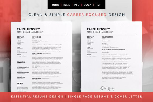 Essential Resume - CV & FREE Cover Letter Template. Available in MS Word | Photoshop | inDesign | Ralph by bilmaw creative on @creativemarket