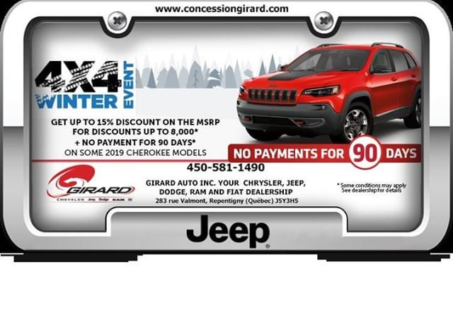 Purchase Or Lease Of Certain Cherokee Vehicles From Girardautomobile Of Repentigny Up To 10550 In Total Discounts No Payment For 90 Day Dodge Vehicule Jeep