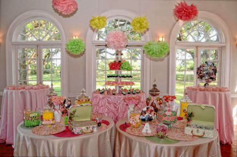 Custom candy bar for your #valentinesday #wedding reception filled with #pink sweets and pink table cloths to match!