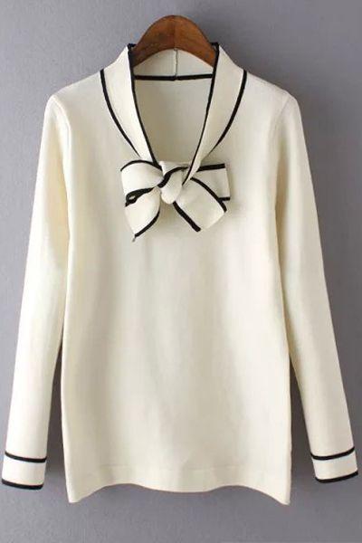 Bow Tie Collar Long Sleeve Sweater