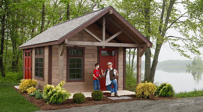 Rustic garden sheds with porches with it 39 s porch and higher pitch roof the rustic highland is - Backyard sheds plans ideas ...