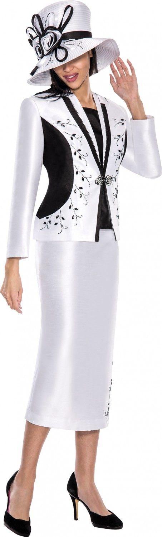 GMI G5633 White-Black Womens Church Suits - Divine Church Suits