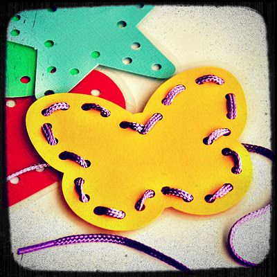 "Kids will improve their fine motor manipulation and pinch and grip skills as they ""sew"" around the shapes!"