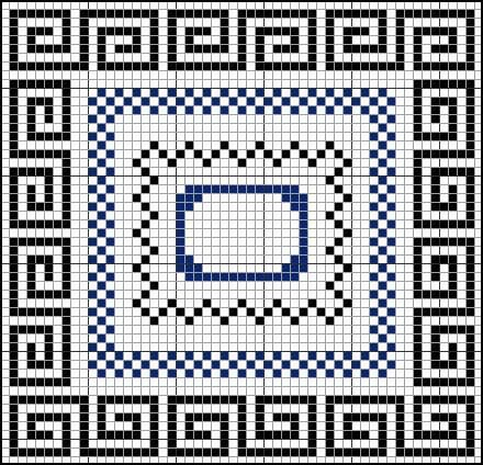 cross stitch Greek key  checkerboard borders