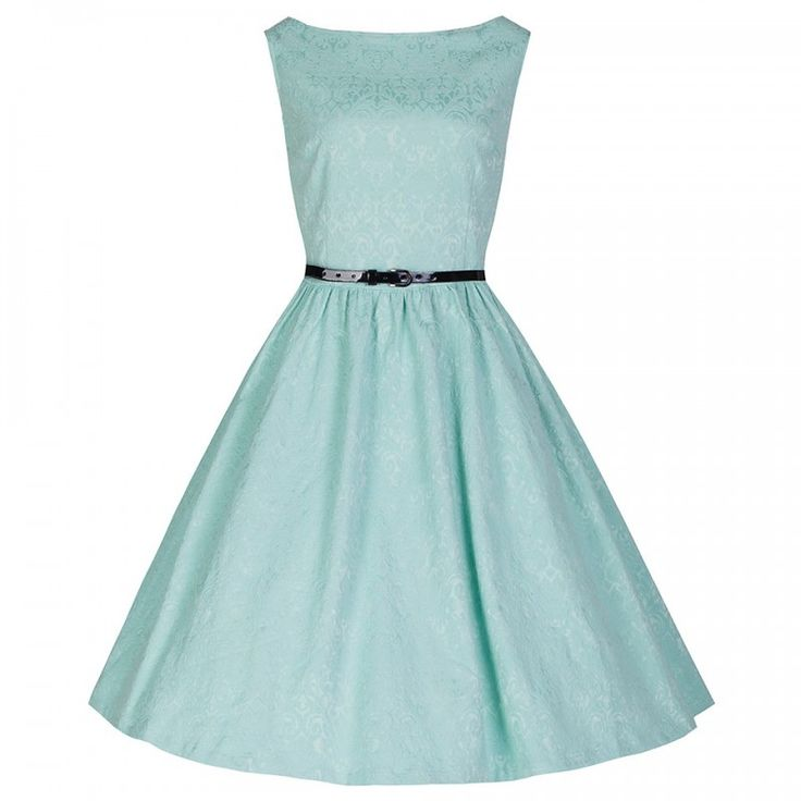 Retro Šaty Lindy Bop Audrey Pastel Green Brocade  Šaty ve stylu 50. let. Krásný model ve střihu Audrey vhodný pro svatební den, společenské události, večírky, plesy, promoce či jiné slavnostní události. Nádherný brokátový vzor látky v pastelově zelené barvě dodá šatům na eleganci, dobře padnoucí střih i materiál (55% polyester, 42% bavlna, 3% elastan), rozšířená sukně, zapínání na zip v zadní části. Součástí černý pásek, který můžete zaměnit za jiný a šaty dostanou jiný vzhled, boční vsazené…
