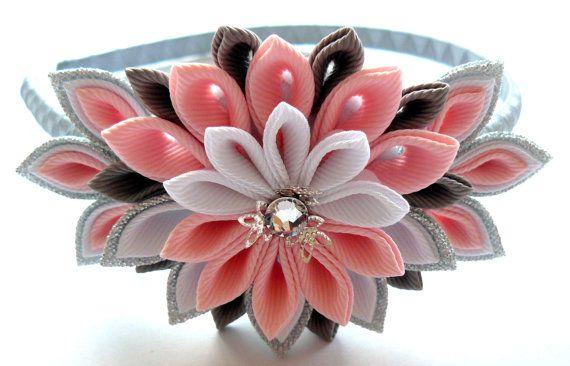 Kanzashi Fabric Flower headband Pink grey silver and by JuLVa, $15.00