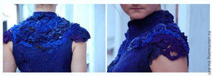 Купить Астрель Принцесса-Сумерки - тёмно-синий, валяный жилет, Мокрое валяние, нуно-войлок