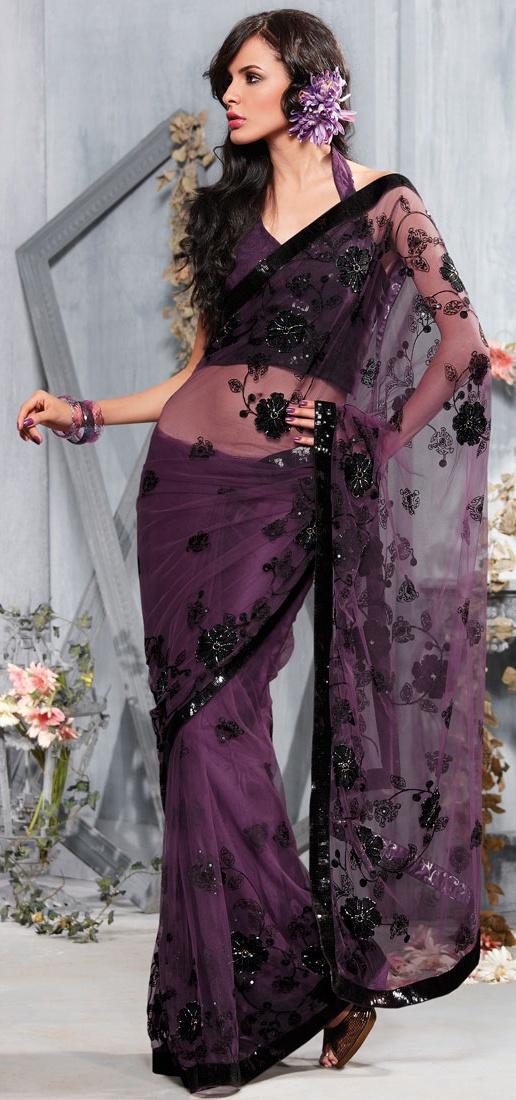 Passionate Purple Net Saree