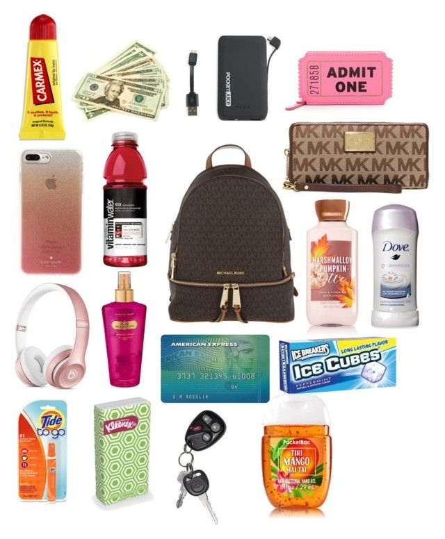 """What's in my Backpack Purse"" by shanaemcnair ❤ liked on Polyvore featuring Michael Kors, Carmex, Kate Spade, Tzumi, Victoria's Secret and Beats by Dr. Dre"