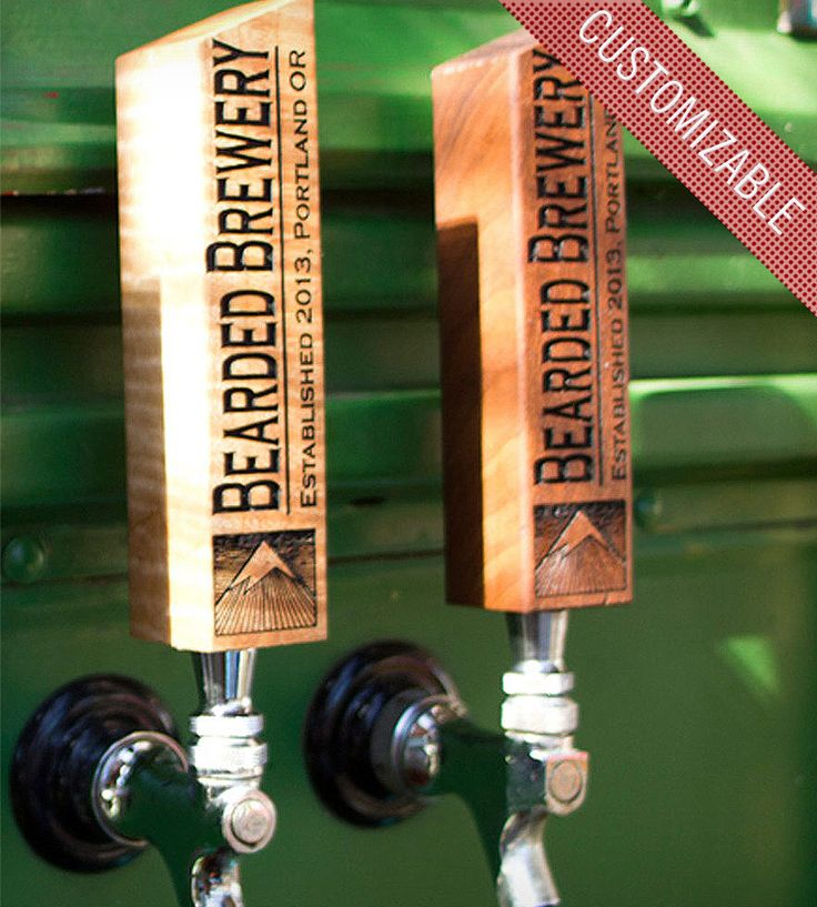 Custom Wooden Tap Handle - Mountain Design by Bearded Boy Design on Scoutmob Shoppe. Customized with your own home bar name and a mountain design.