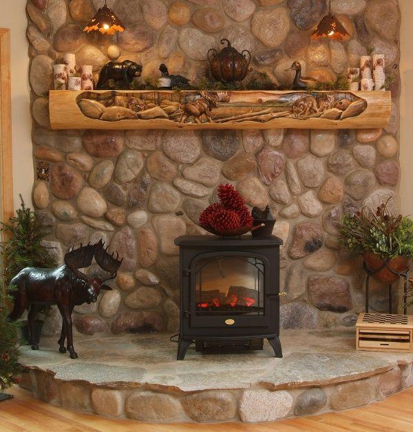 Cabin Decor Hand Carved Fireplace Mantels Juniper Log
