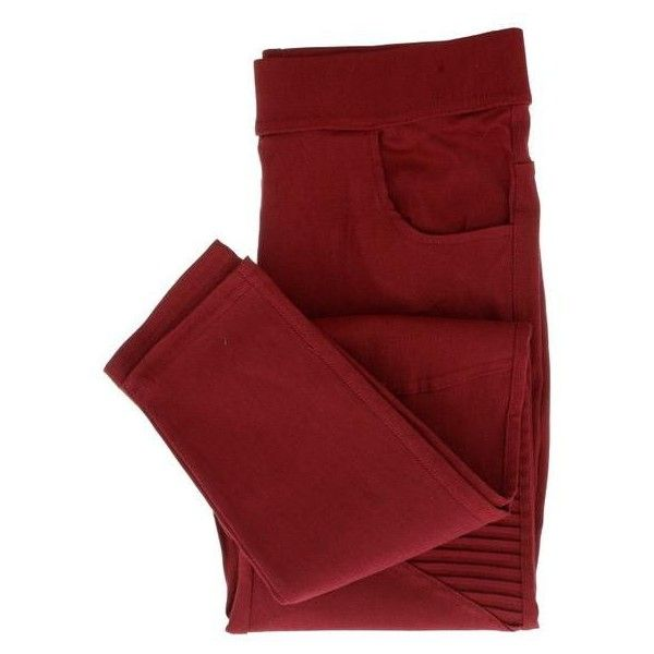 Barb Moto Jeggings ($40) ❤ liked on Polyvore featuring pants, leggings, multicolor leggings, red leggings, colorful jeggings, red jean leggings and red trousers