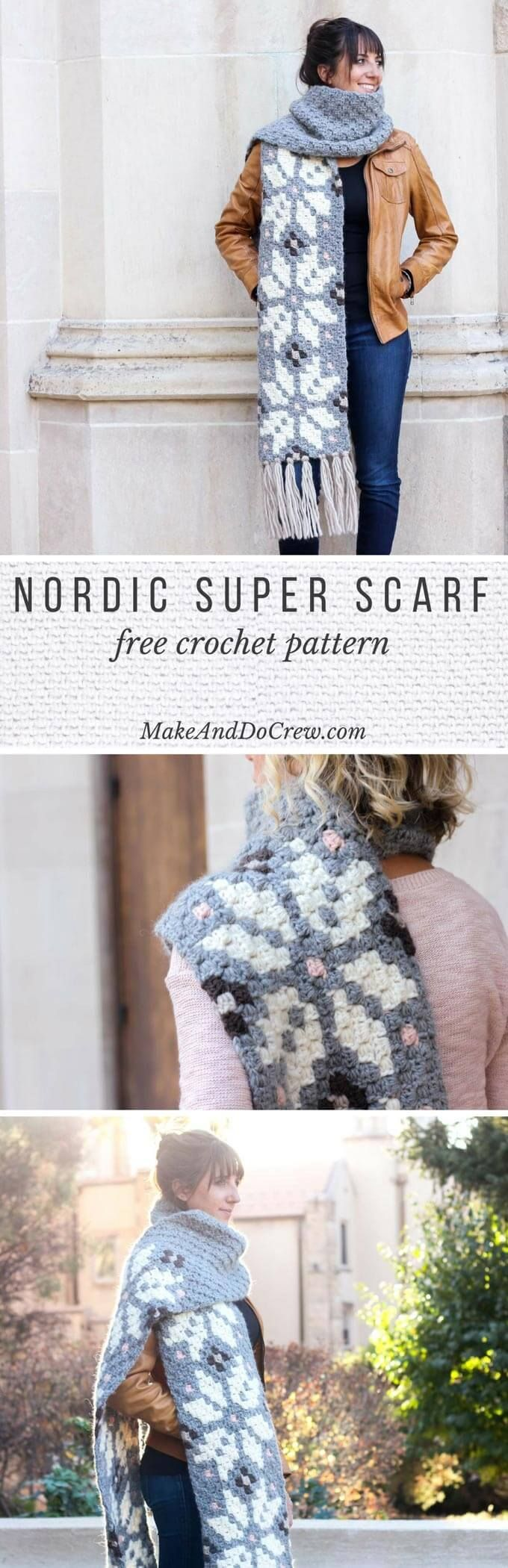 Whether you live in the North Pole or just want to jump on the super scarf trend, this nordic crochet super scarf pattern will keep you feeling warm, but lookin' hot all winter long. This chunky crochet pattern is made with Patons Classic Wool Roving yarn. Click to download the free c2c crochet pattern! (scheduled via http://www.tailwindapp.com?utm_source=pinterest&utm_medium=twpin&utm_content=post115022911&utm_campaign=scheduler_attribution)