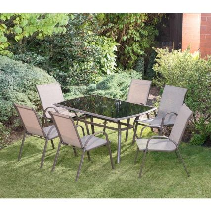 b m copenhagen patio set 7pc garden outdoor furniture. Black Bedroom Furniture Sets. Home Design Ideas