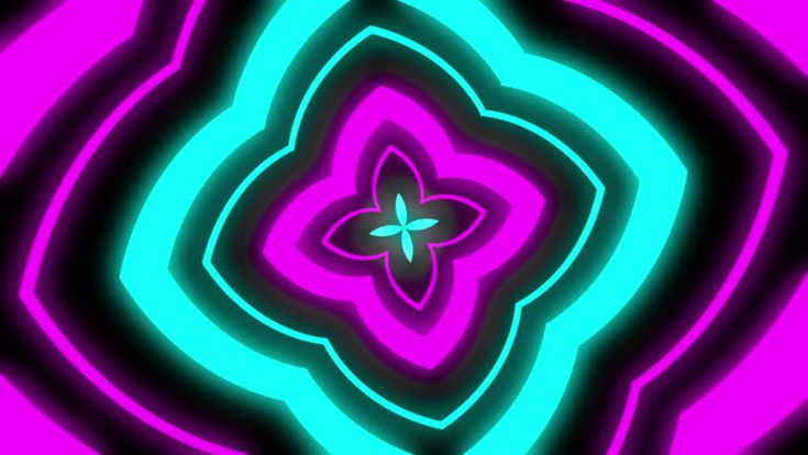 High Definition  motion background featuring an infinite tunnel of floral neon shapes. - HD stock video clip