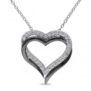 Sterling Silver and Black Rhodium Plated 5/8 CT TGW Created White Sapphire Heart Necklace - Sapphire (September) - Gemstones - by Samuels Jewelers