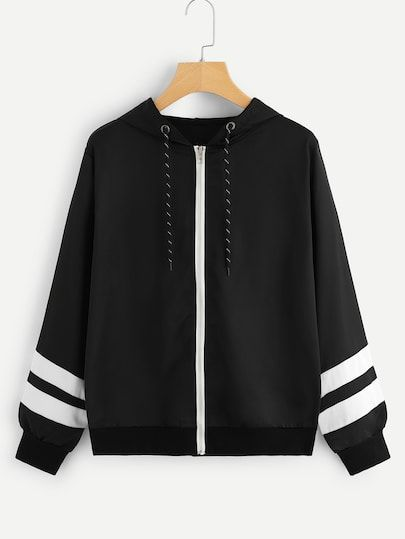 e6a7d34b222 Striped Tape Sleeve Zip-Up Hooded Jacket in 2019