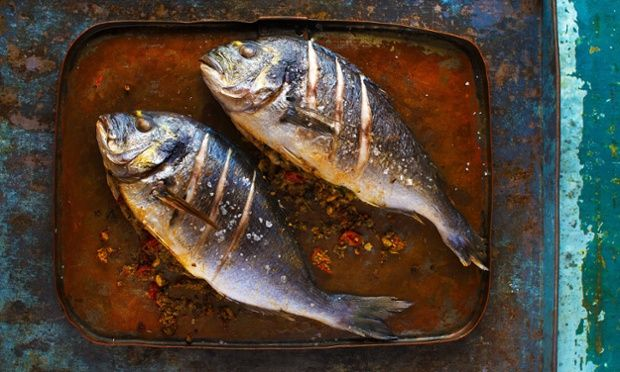 Baked Fish with a Coriander and Nut Stuffing Samkeh Harrah Anissa Helou