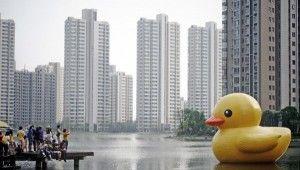 Cina. papera gigante di gomma