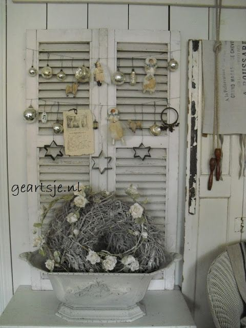 Christmas Decoration: Vintage White Shutter with Silver Ornaments